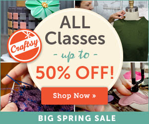Craftsy classes up to 50% off this weekend!